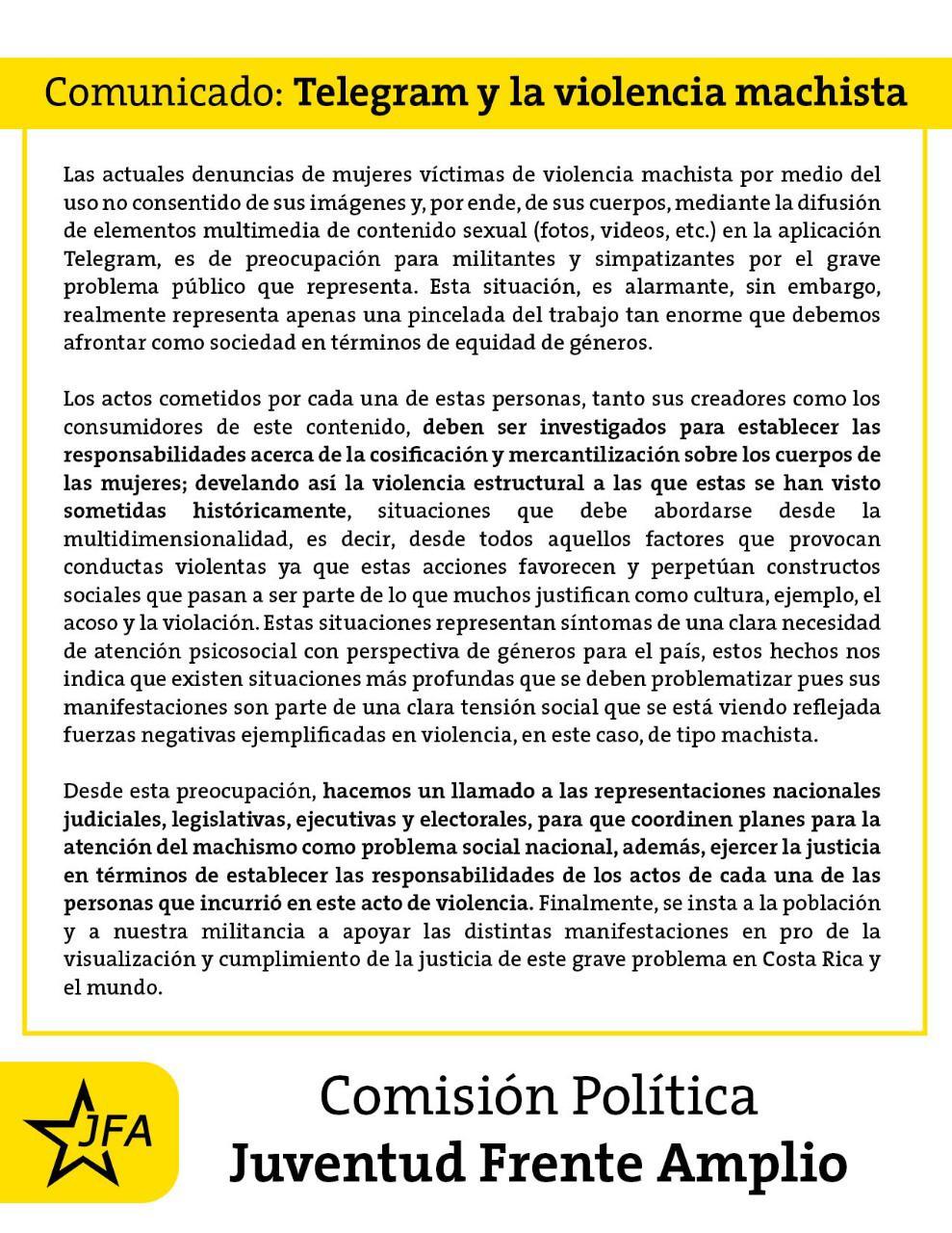 Comunicado de la JFA: Telegram y la violencia machista.