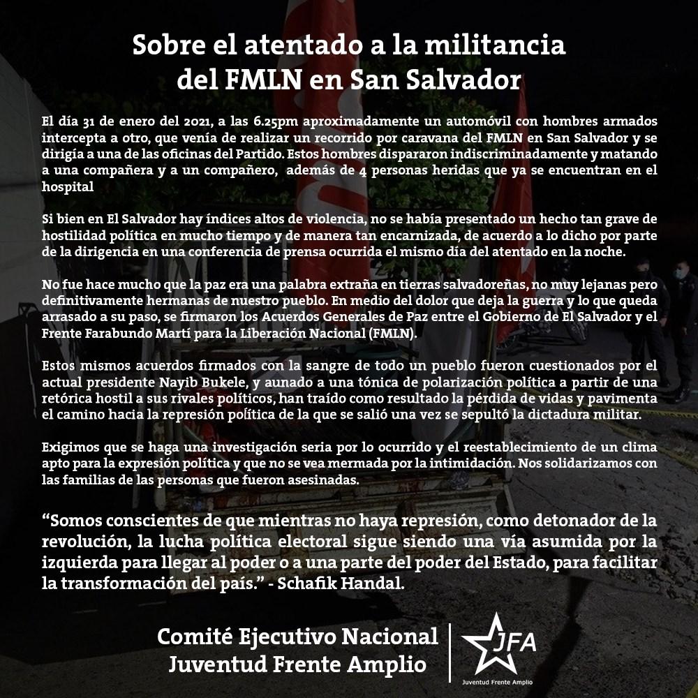 Sobre el atentado a la militancia del FMLN en San Salvador